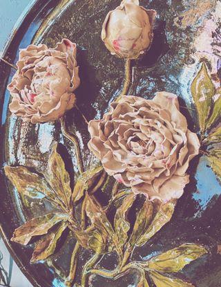 Plato de decoración Floral de cerámica