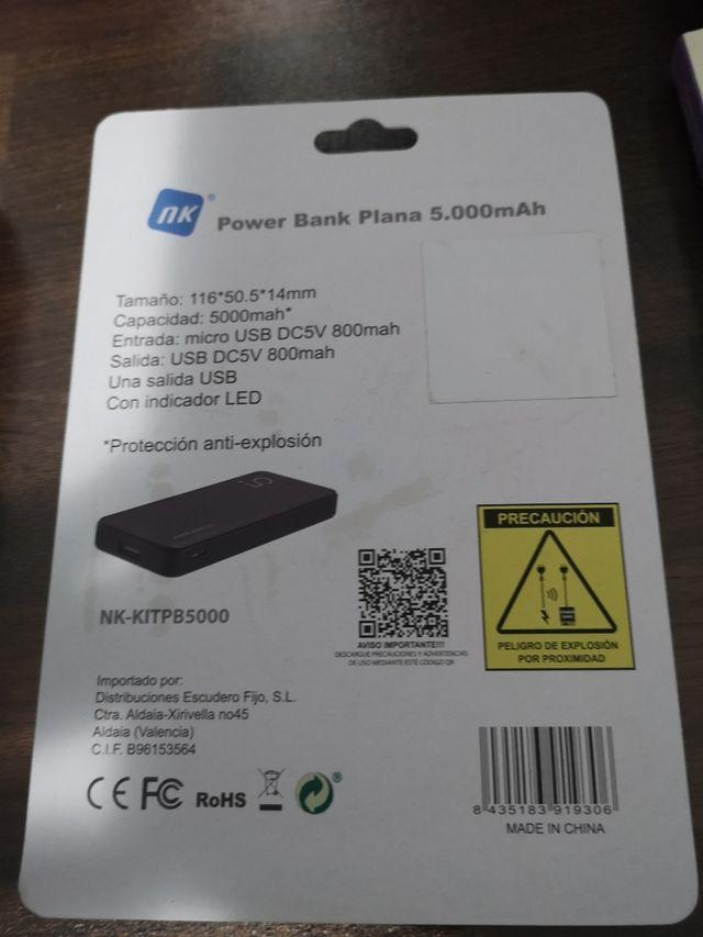 Cargador externo Power Bank 5.000 mAh