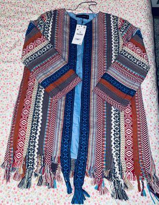 Abrigo chaqueta étnica Zara Jacquard