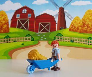 Playmobil Niño con carretilla