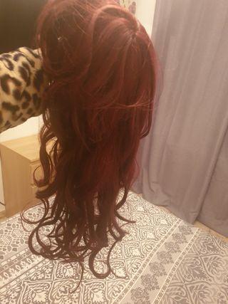 peluca caoba larga