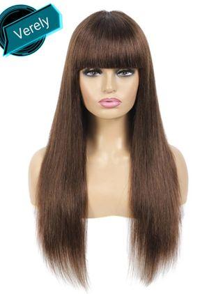 Peluca pelo natural 100%,marrón