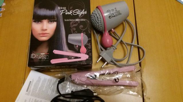 Plancha de pelo rosa y secador d viaje 500w Coruña