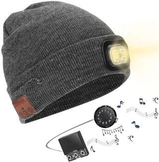 Gorro Bluetooth con Linterna LED, V5.0 Inalámbrico