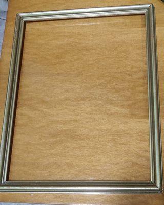 Marco de cuadro, madera, antiguo plateado/dorado