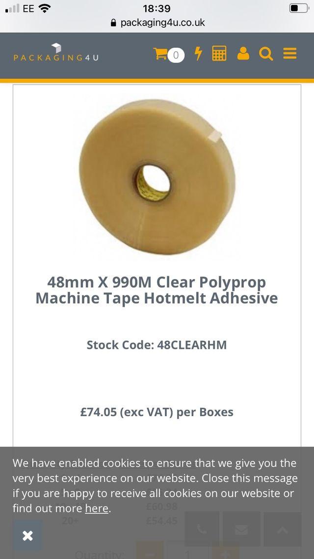 1 box of 6 rolls of polypropylene machine tape