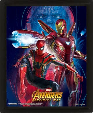 POSTER 3D IRON MAN & SPIDER-MAN AVENGERS INFINITY