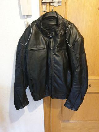 chaqueta de cuero auténtico para moto