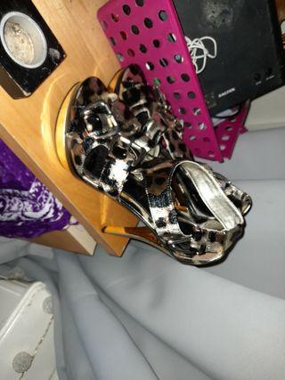 gold leopardprint high heels