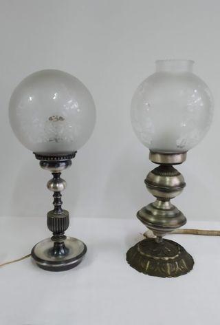 Lámparas vintage metal plateado y cristal.