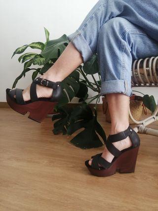 Sandalias cuña piel negro talla 36