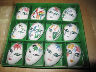 12 máscaras escayola carnaval purpurina años 80