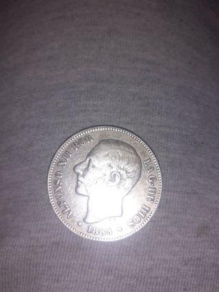 moneda de plata 1885