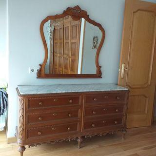 aparador, cómoda, antiguo y espejo