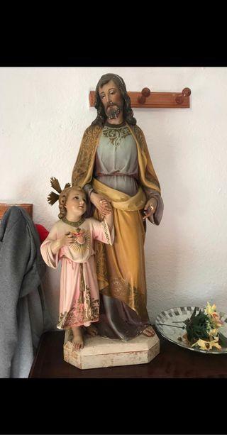 Escultura niño Jesús y San José