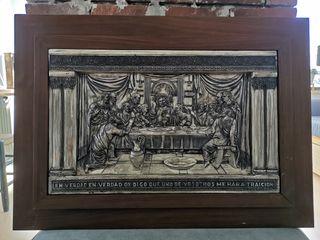 cuadro cristiano madera y chapa