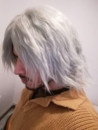 peluca plateada cosplay Dante devil may cry