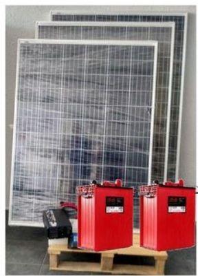 Kit solar 2000W/dia 3 placas 200w 2 bat 293Ah