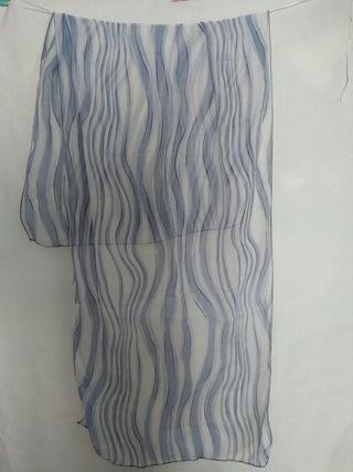 foulard vintage rayas organicas azul claro y gris