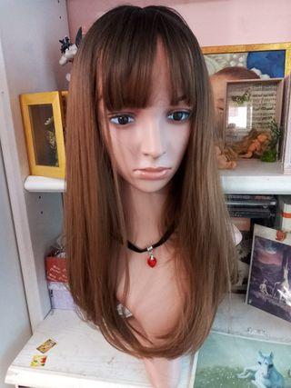 peluca mujer castaño
