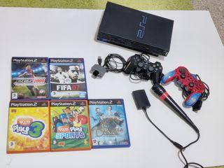 PlayStation 2 + 5 juegos + Accesorios
