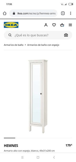 Armario alto con espejo Hemnes Ikea