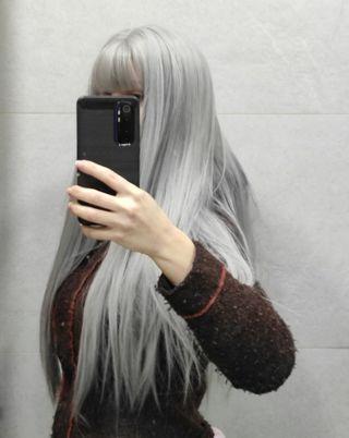 peluca plateada gris blanco oscuro Cosplay nueva