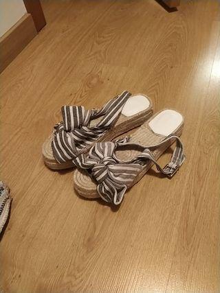 Sandalias plataforma mujer lazo esparto