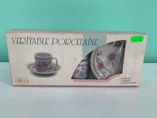 Juego de café de porcelana 12 piezas