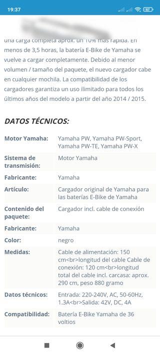 cargador Yamaha, bicicleta eléctrica.