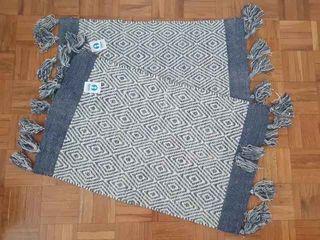 NUEVA-Set 2 alfombras algodón rombos azul(80x50cm)