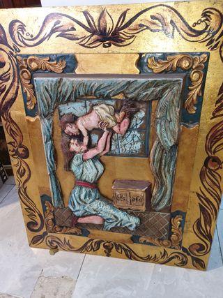 retablo de madera, pintado a mano
