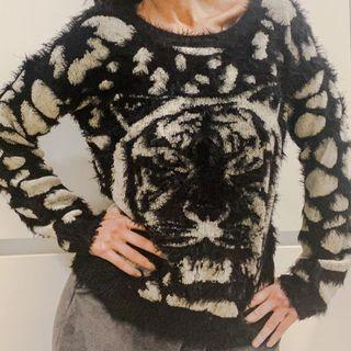 Talla S - Jersey estampado tigre en beige y negro