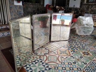 espejo tríptico antiguo 92x18
