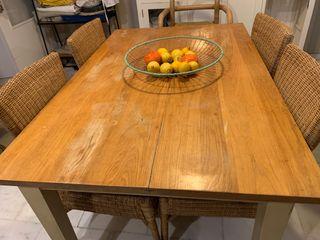 Conjunto mesa cocina y 6 sillas mimbre