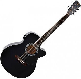 Guitarra electroacustica mini jumbo negra