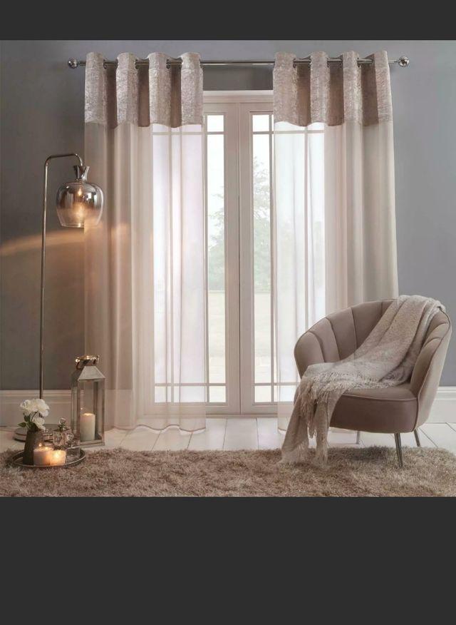 pair of Velvet voile curtains