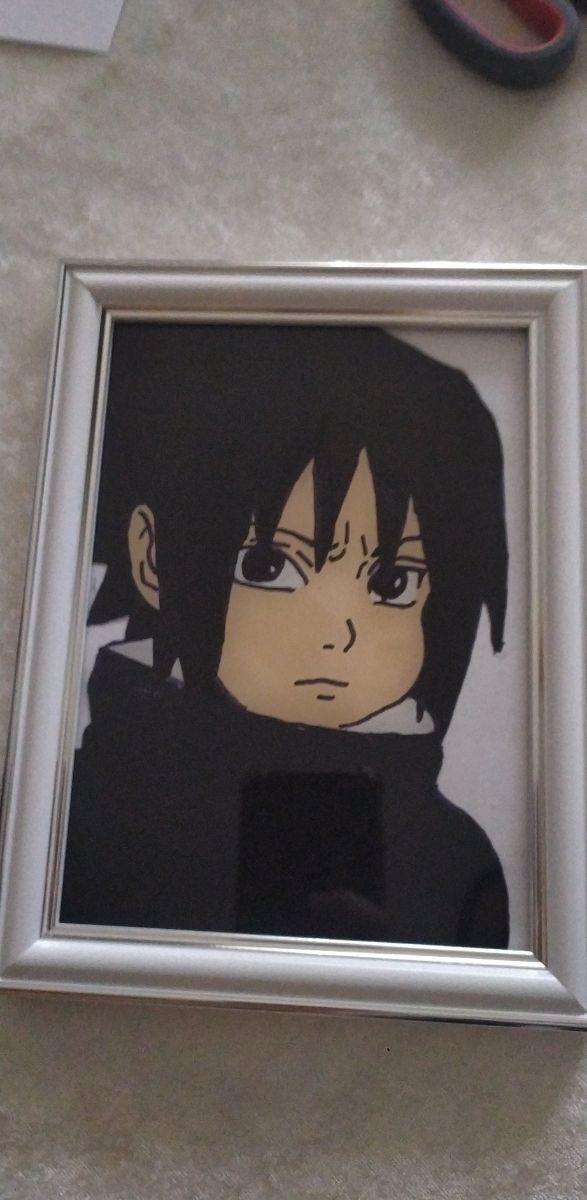 peinture sur verre sasuke