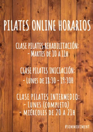 HORARIO CLASES PILATES ONLINE