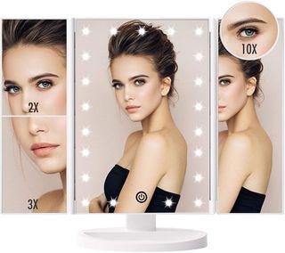 Espejo Maquillaje con Luz, Espejo de Mesa Tríptica