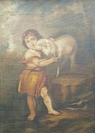 Antigua Pintura Al Óleo San Juanito