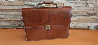 Maletín Portafolio Vintage en piel autentica