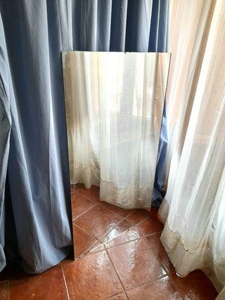 Espejo antiguo y grande, sin marco, 131 x 72 cm