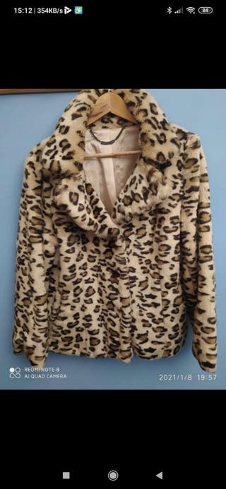 chaqueta de imitación de piel de leopardo