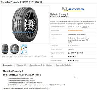 Neumáticos (2) MICHELIN PRIMACY 3 235/55 R17 103W