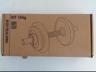 1 kit de 1 mancuerna 10kg total, NUEVA a estrenar