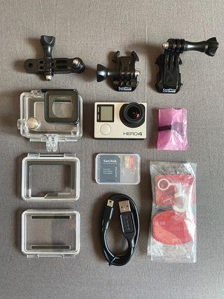 GoPro Hero 4 Black + Accesorios + SD de 64 GB