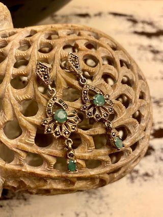 Pendientes plata con esmeraldas