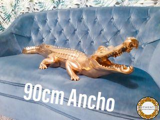 Escultura Cocodrilo Dorado 90cm Ancho