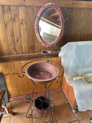 Espejo cerámica tocador antiguo